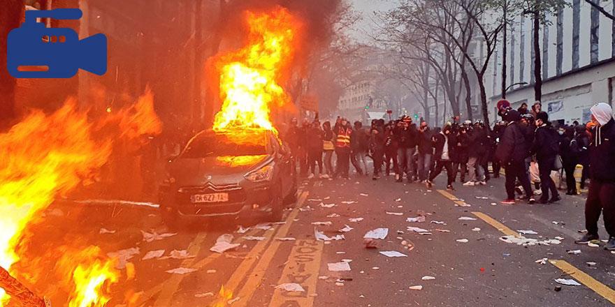 Paris'te sıradan bir gün, polise el yapımı patlayıcı attılar!