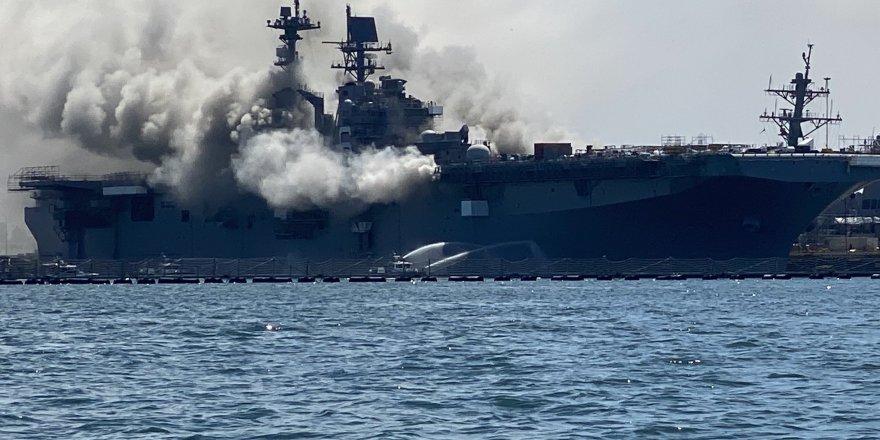 ABD savaş gemisi yandı