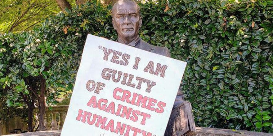 ABD'de göstericiler bu sefer Atatürk heykelini hedef aldı