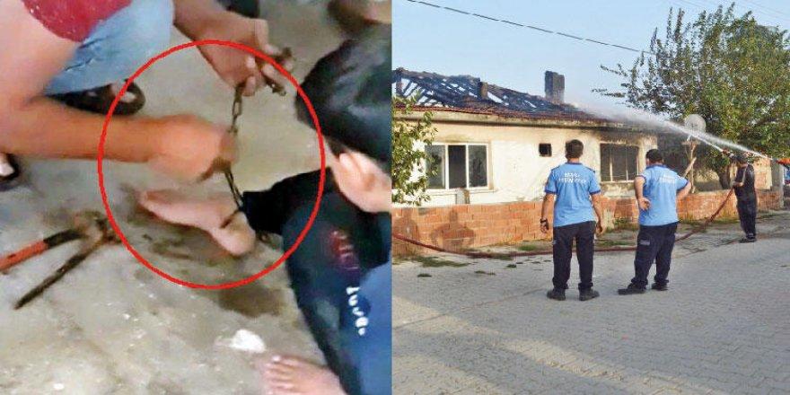 Ayağından zincirlenen çocuk, yanmaktan son anda kurtuldu!
