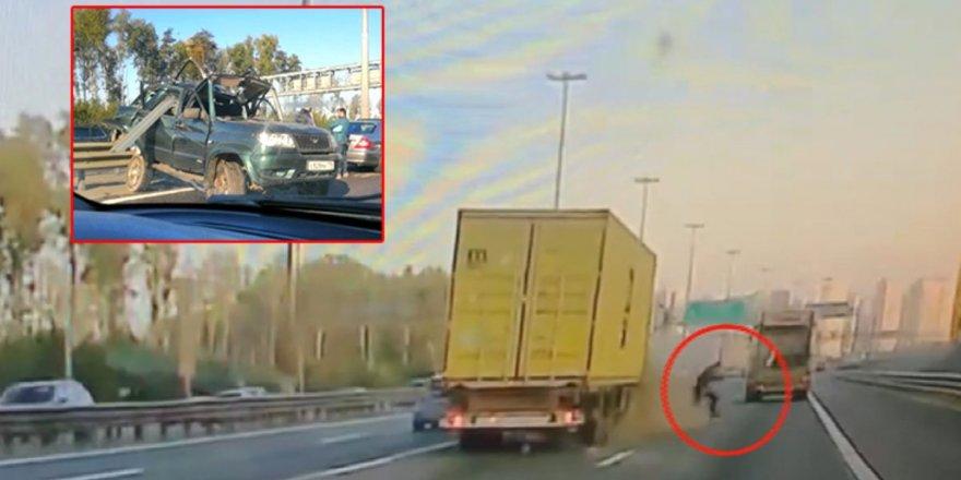 Otoyol ortasında aracı bozulan sürücü olası bir faciadan son anda kurtuldu!