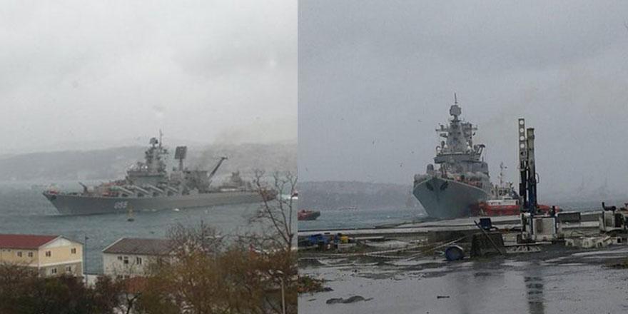 Rus savaş gemisi boğazda sürüklendi